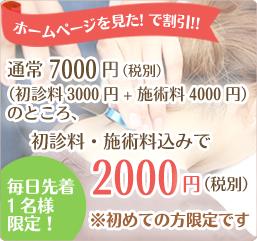 三島市・清水町 かきたがわ整体院のホームページを見たで、初回限定価格2000円(税別)毎日先着1名様限定