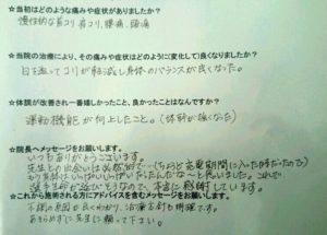 三島市女性トッププロスポーツ選手の整体口コミ